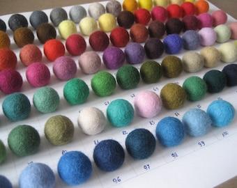 50 x Felt Balls 2 cm / Choose your colours  / 100 colors / Pack of 50