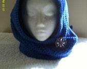 Royal Blue Head Scarf with Brooch
