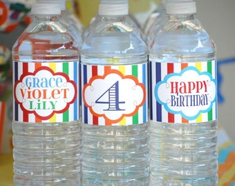 DIY rainbow themed Water bottle labels printable file