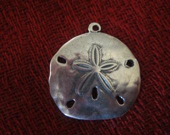 925 sterling silver oxidized  sand dollar charm