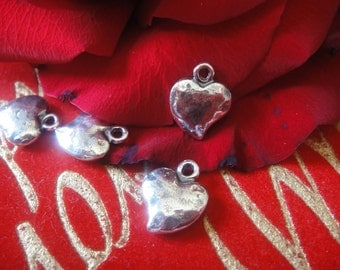 925 sterling silver oxidized puffy lightly hammered heart charm 1 pc., hammered puffy heart, silver heart, silver puffy heart