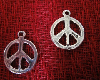 925 sterling silver oxidized  Peace sign charm, pendant 1 pc.