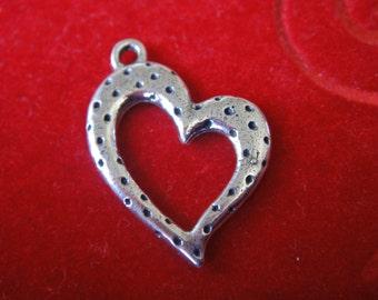 925 sterling silver oxidized heart, silver heart charm, heart, Large heart, heart charm