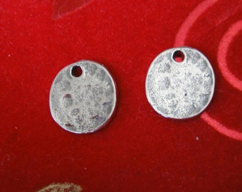 925 sterling silver oxidized hammered Blank Disc 1 pc., charm, pendant,blank disc, stamping disc, blank stamping disc