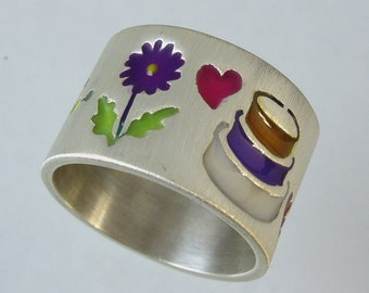 Custom ring, engagement ring, original and unique, hand made to order, silver ring,Recycled silver, JEWELS OF JOY