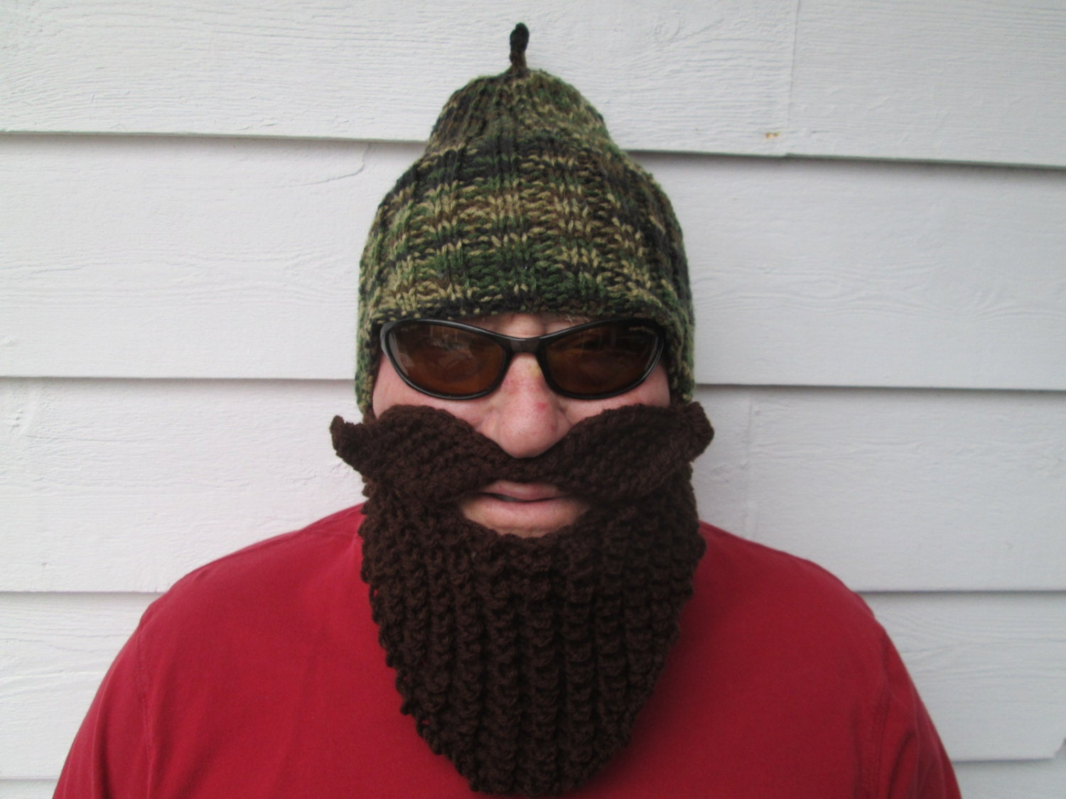 Bearded Beanie Knitting Pattern : Knitted long beard hat Camouflage hat Beard Beanie by Ritaknitsall