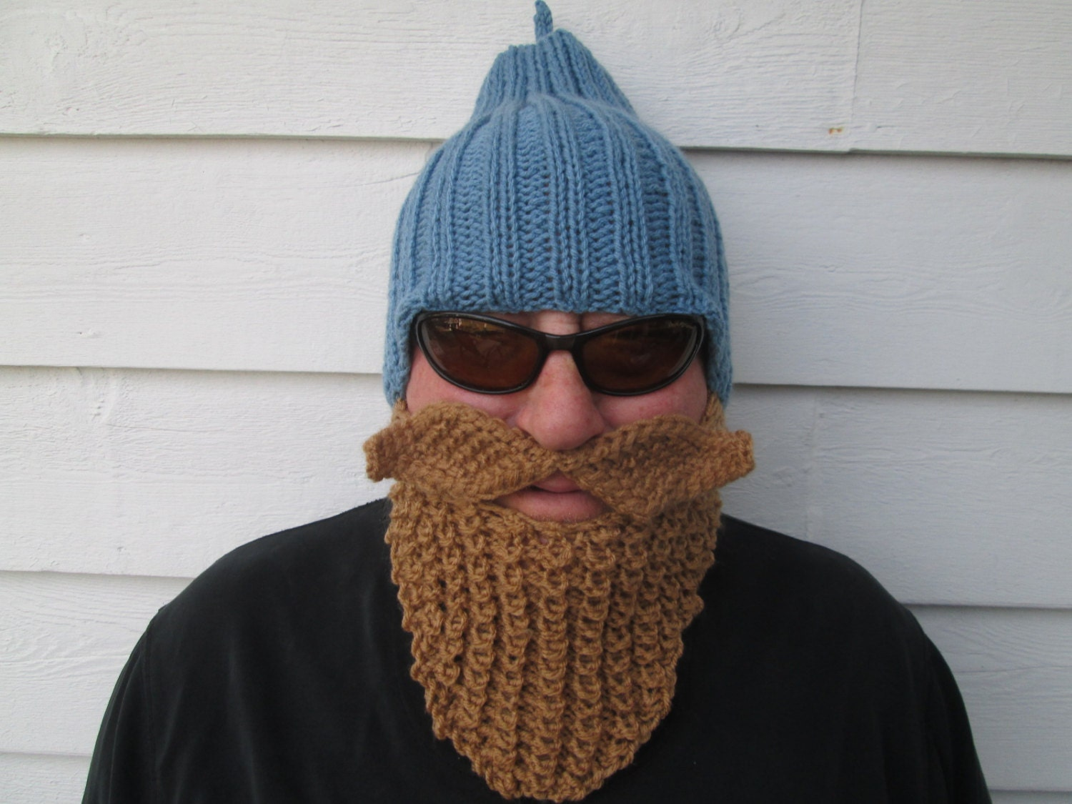 Prayer Shawl Patterns Free Knit : Ready to ship Beard hat Beard Beanie Wild Man by Ritaknitsall