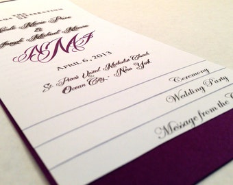 5 PAGE Layered Wedding Program - WE Personalize, YOU Print - Monogram Style