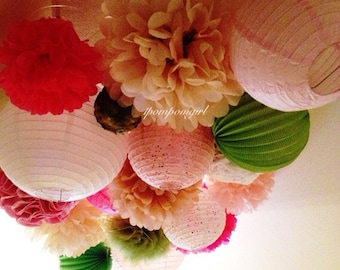 WEDDING STYLE / 25 Tissue Paper Pom Poms/25 Paper Lanterns / wedding decorations, tissue poms, paper flowers, lanterns, paper lanterns, diy