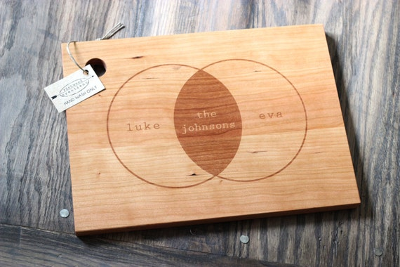 "16"" x 11"" Custom Engraved Wood Cutting Board - Venn Diagram Design"
