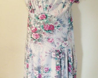 1950s dove grey floral cotton day dress
