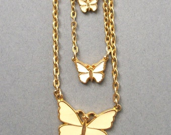 Vintage Cream and White Enamel Gold Toned Multi Strand Butterfly Necklace Vintage Jewelry