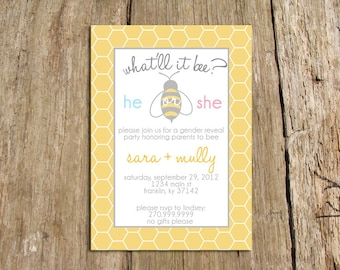 what will it bee - bee themed gender reveal party invitation