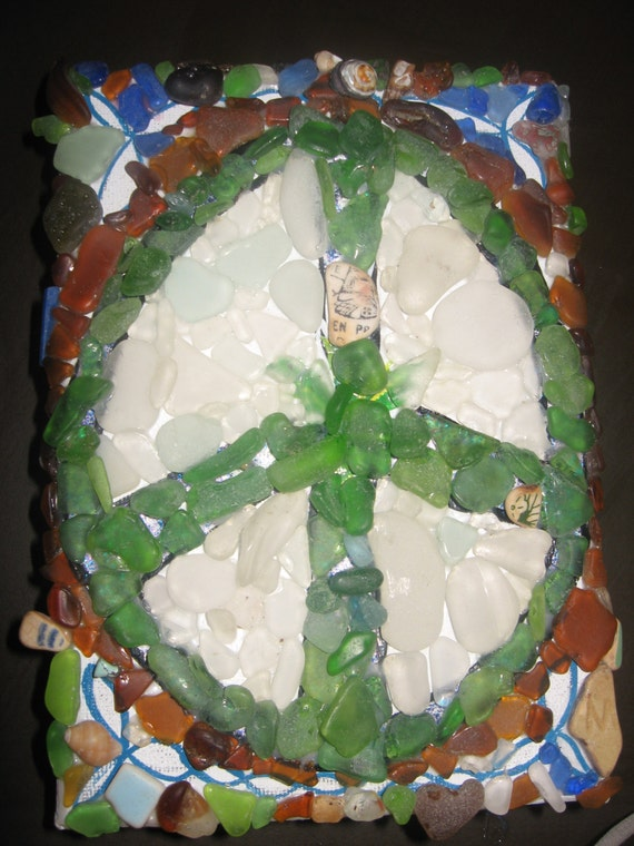 Peace Sign Sea Glass Mosaic art on Canvas with Battery Operated LED Lights built in.