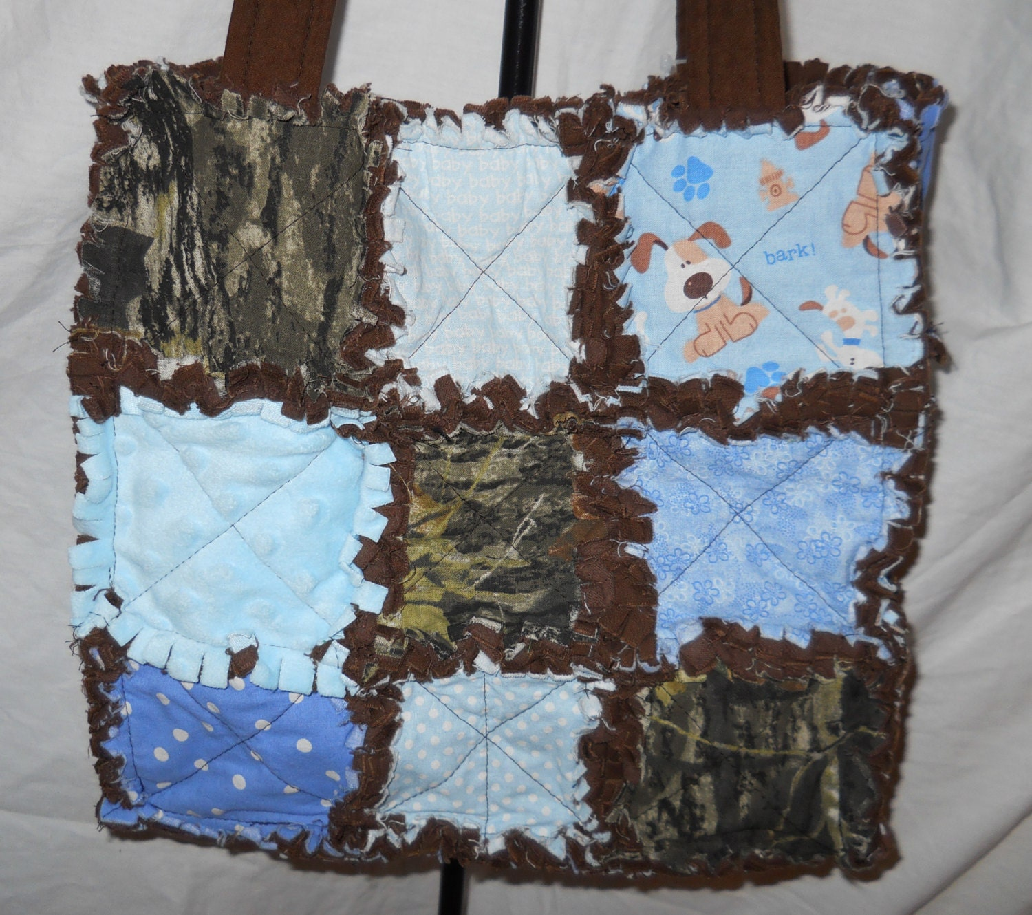 Rag Quilt Purse diaper bag puppies minky camo 9 patch large
