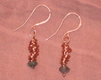 Tourmaline and Wrapped Copper Wire Earrings