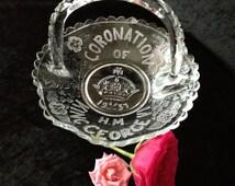 King George Coronation Glass Handled Dish