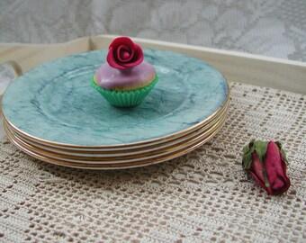 Royal Albert Gossamer Vintage Tea Plates available in pink, blue, orange, green and grey.