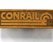 CONRAIL Railroad Logo Wooden Fridge Magnet - White Text - Small
