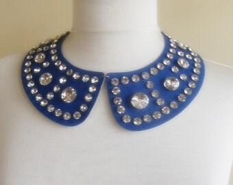 detachable imitation leather peter pan collar necklace beads bridal wedding christmas gift for her saxe blue nr. 46