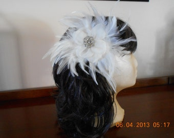 Ivory Feather , Organza Fascinator with Crystal and Silver Metal Vintage Button, Bridal Wedding Headpiece