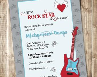 Printable Rock Star Baby Shower Invitations - Guitar - Skulls