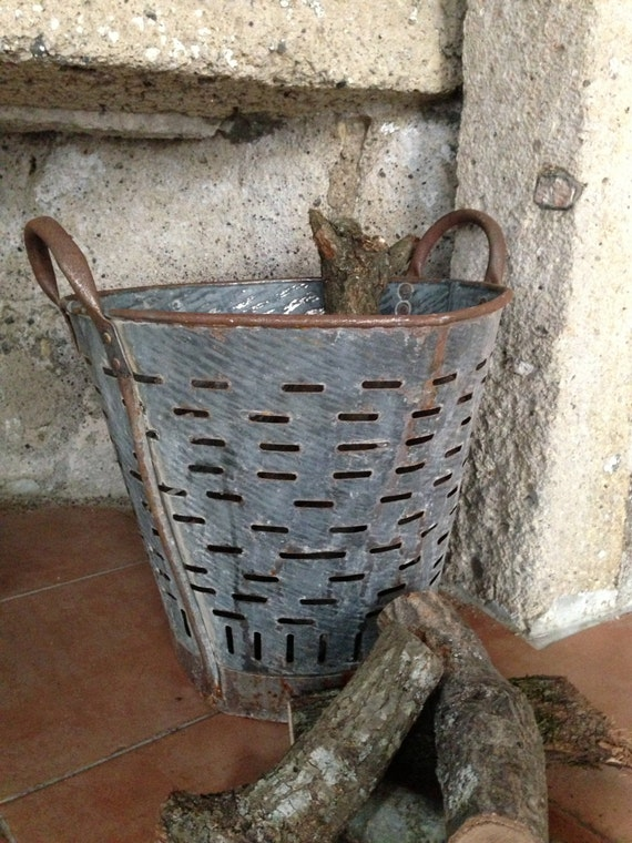 Rustic metal olive basketvintage bucket and for Rustic galvanized buckets
