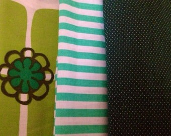 Sweet 60s pack of 3 vintage retro fabrics. Green colors. Scandinavian design