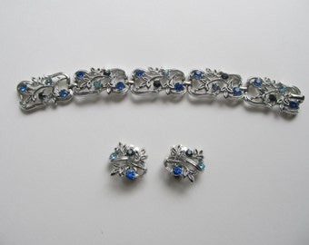 Vintage, Colored Rhinestones, Bracelet And Earrings Set, By Coro