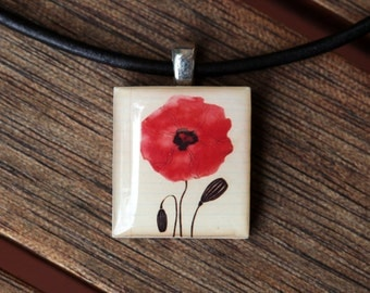 Red Poppy Resin Scrabble Tile Pendant Necklace