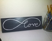 "Original Hand Painted 4x12 inch Canvas Wall Painting - ""Love Always"""