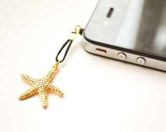Starfish iPhone Earphone Plug, Dust Plug - gold starfish charm with black cord. Cellphone Accessories, phone decoration, nautical charm