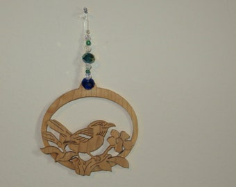 Great Carolina Wren Songbird Fretwork Ornament