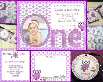 Owl Birthday- Owl Birthday Party Package FREE Thank You Cards
