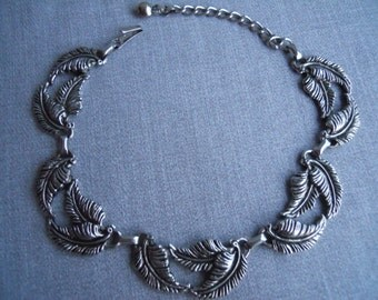 Fabulous Vintage Silver Leaves Choker Necklace, Circa 1950s, 1960s