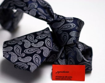 Silk Tie (3inch) in Paisleys with Charcoal and Navy