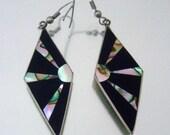 Onyx Abalone Earrings Rising Sun Mexico Vintage