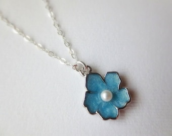 Sky Blue Sakura flower necklace in STERLING SILVER CHAIN--Perfect Gift, gift for mom, gift for friends,Birthday Present for her.