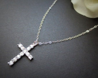Swarovski Crystal Cross Necklace in STERLING SILVER CHAIN--Faith Necklace--Perfect Gift for mom for friends Birthday Present for her.