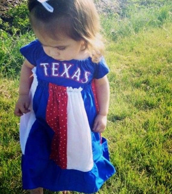Little Girls Pheaseant StyleTee Shirt dress Red White,and Blue Texas Ranger Dress 2T-5T