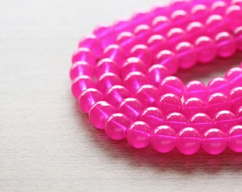 50 pcs of Dyed Round Hot Pink Glass Beads - 8 mm