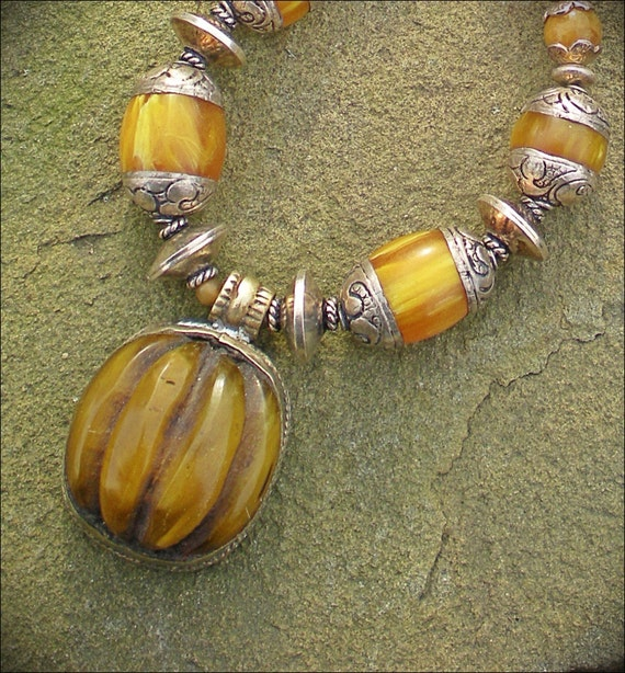 Tibetan Beeswax Amber Amulet Necklace