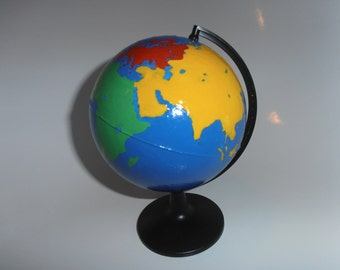 Montessori Handpainted Continent Globe with Matching Flat Map, Europe, Asia, N America, S America, Africa and Antarctica, Australasia, Earth