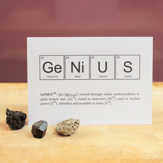 Genius greetings card spelt using periodic table elements