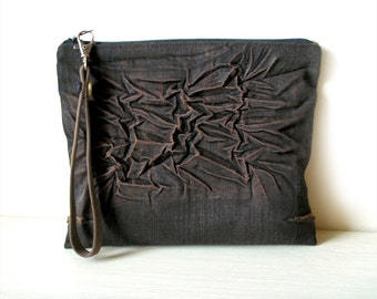 Wrinkled Distressed Brown Denim Clutch Purse with Detachable Wrist Strap