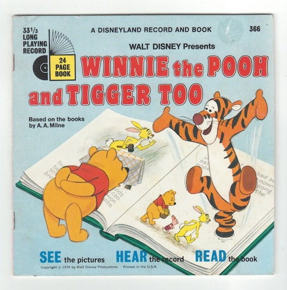 Winnie the Pooh and Tigger Too vintage 1970s Walt Disney read along book with record for childrens picture book