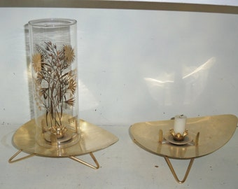 "Vintage Retro Atomic Modern Era Metal Candle Holders w 1 Hurricane - ""Douglas"""