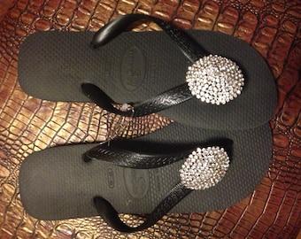 Crystal embellished Flip Flops