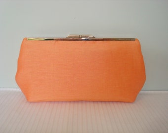 Free US Shipping Bridal Wedding Bridesmaids' Evening Tangerine Silk and Linen Clutch Purse Bag