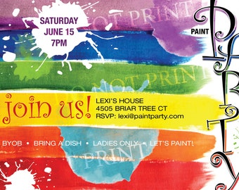 Paint Party Invite // Art Party Invite // Paint Brush Strokes // Customizable // Printable